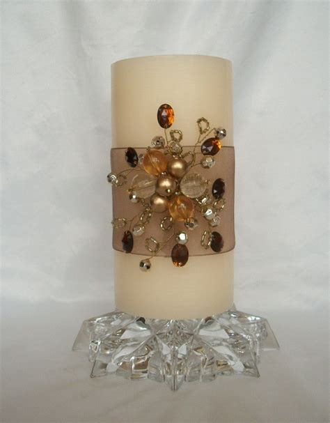gold and cream pillar candles decorated pillar candle with topaz gold gold sequins sheer brown