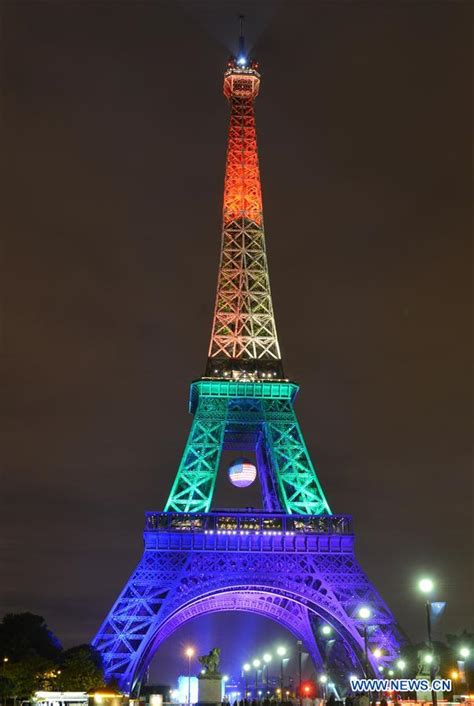 eiffel tower color eiffel tower illuminated in colors of rainbow for victims