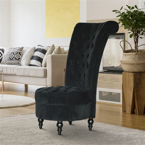 Living Room Chair For Back by Homcom 45 Quot Tufted High Back Velvet Accent Chair Living