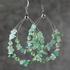 big earing green jade big tear drop hoop earrings handmade by