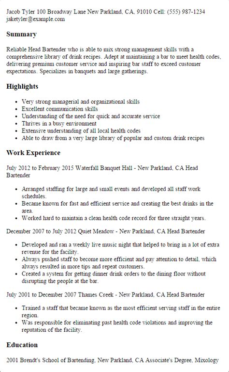 bartender resume professional bartender templates to showcase your talent myperfectresume