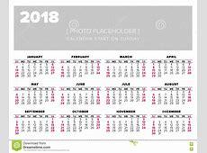 Vector Het Ontwerpmalplaatje Van Het Kalender 2018 Jaar