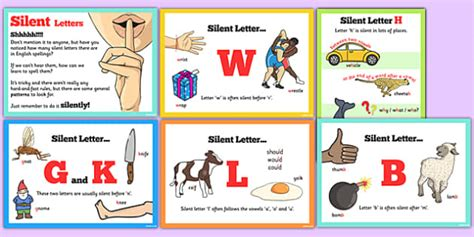 which letter is silent in spell some words with silent letters display posters 25636