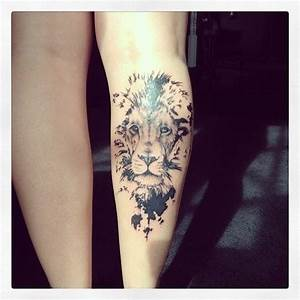 http://tattoos-ideas.net/lion-tattoo-on-leg/