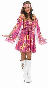 1960s Pink Swirl Hippy Fancy Dress Ladies 60s Hippie ...