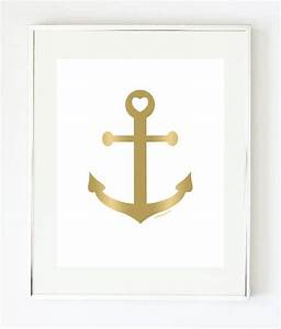 Gold anchor art print nautical by