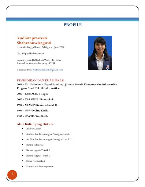 Contoh Curriculum Vitae Atau Cv Example Good Resume Template