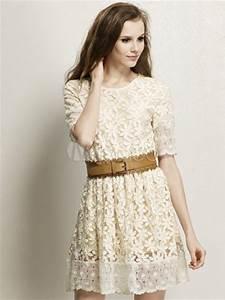 sweet ecru white crewneck lace short dress milanoocom With robe dentelle ecru