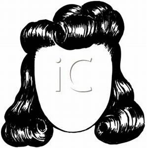 A Retro Cartoon of a Female Wig - Royalty Free Clipart Picture
