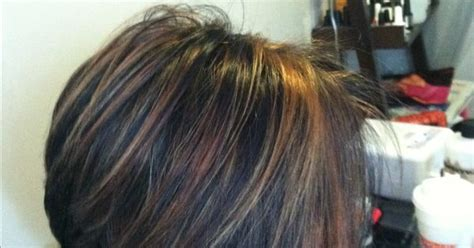 Chunky Caramel Highlights In Dark Hair!!! Short Stacked