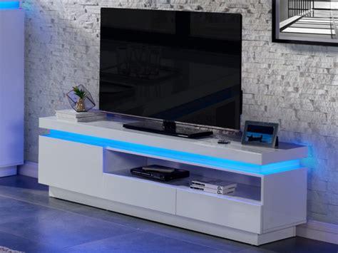 meuble cuisine sur meuble tv emerson 1 porte 2 tiroirs leds laqué blanc