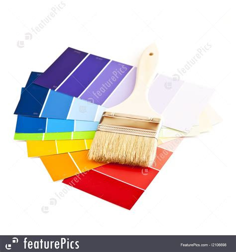 diy hardware paint brush with color cards stock picture