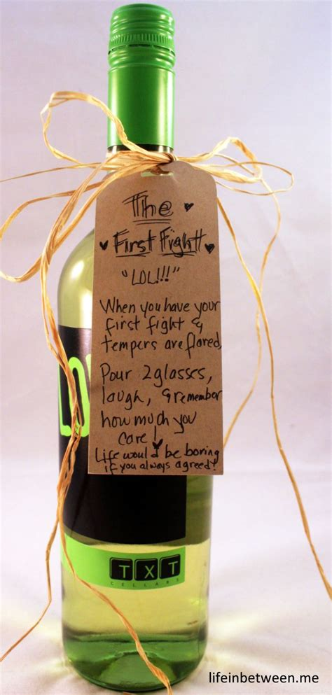 wine bridal shower gift  fight bottle bridal shower
