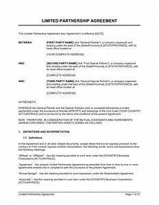 limited partnership agreement long form template With partnership agreement ontario template