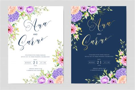 Watercolor wedding floral invitation card template save