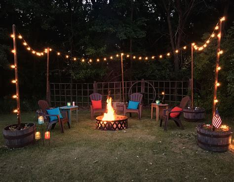 Outdoor Living Space With Seating And Fire Pit. String