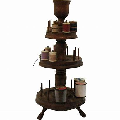 Thread Wooden Spool Holder Tiered 50s 1940