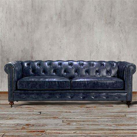 blue chesterfield leather sofa chesterfield sofa navy indigo blue leather living
