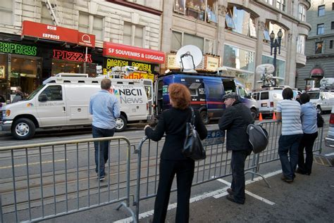 media trucks covering obama  san francisco  dnc fundr