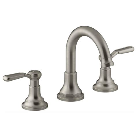 kohler worth   widespread  handle bathroom faucet  vibrant brushed nickel    bn
