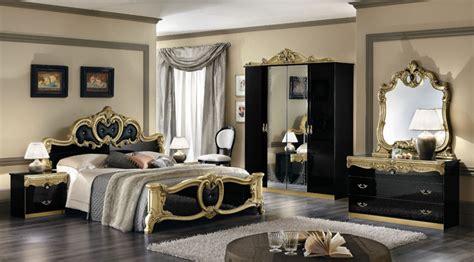 Komplett Möbel Schlafzimmer Barocco Schwarzgold Italien