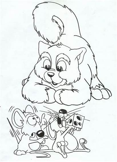 Coloring Pages Mouse Cat Mice Cats Printable