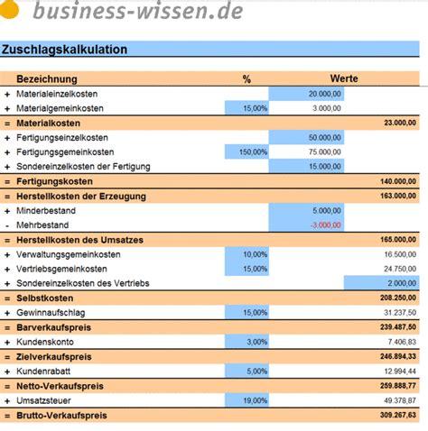 zuschlagskalkulation excel tabelle business wissende