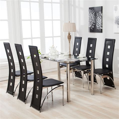 7 Piece Dining Table Set And 6 Chairs Black Glass Metal