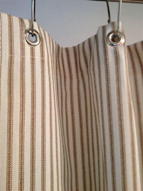 ticking stripe shower curtain black brown grey navy