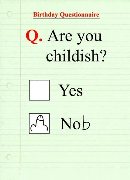 funny card birthday questionnaire   childish