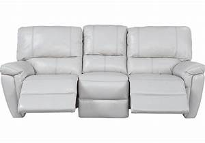 Browning Bluff Light Gray Leather Reclining Sofa - Leather