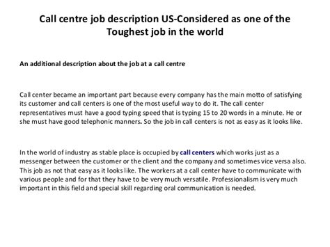 Call Center Supervisor Description And Duties by Call Center Description