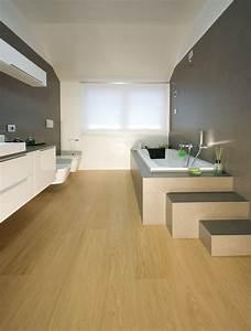 Meuble Salle De Bain Bois Et Blanc : 1001 mod les inspirants d 39 une salle de bain avec parquet ~ Teatrodelosmanantiales.com Idées de Décoration