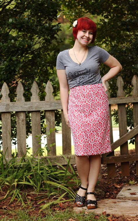 outfit peach lace overlay skirt gray  neck  shirt