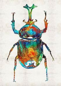 Colorful Beetle Scarab Art Bug Egyptian PRINT from ...