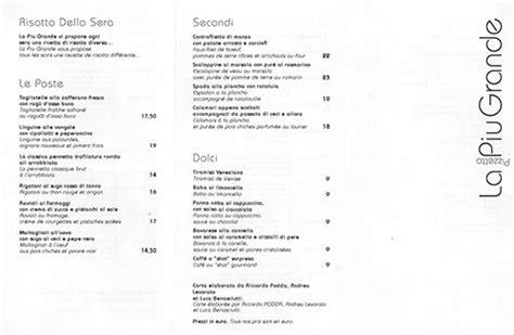 Traduction Carte Restaurant Italien by Italien La Pizzetta Pi 249 Grande