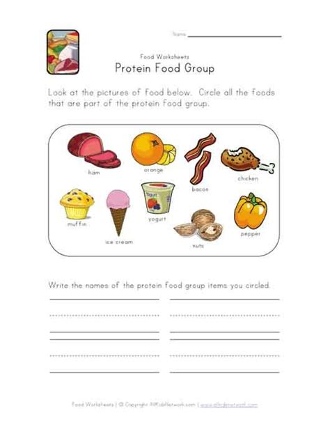 this simple food worksheet is for any food or
