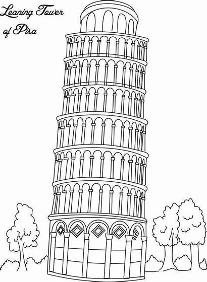Coloring Pages Draw Places Geography Landmark Flag