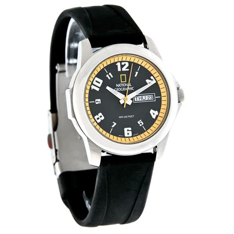 National Geographic Mens Black Daydate Dial Rubber Strap
