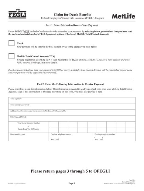 Continue opm service credit payment form. 2011 Metlife FEGLI Form FE-6 Fill Online, Printable, Fillable, Blank - PDFfiller