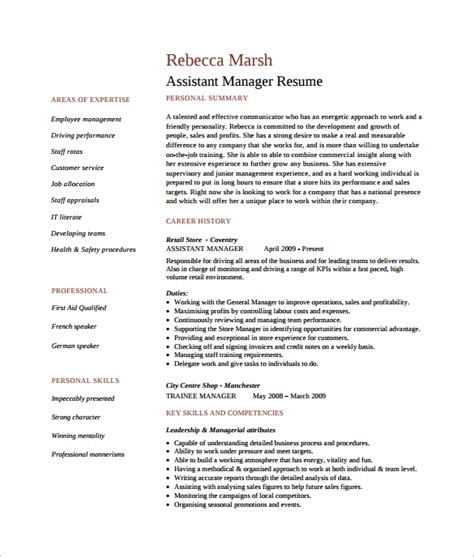 Resume Format For Assistant Manager by 10 Assistant Manager Resume Templates Sle Templates