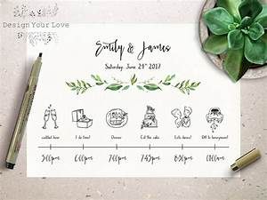 wedding timeline printable wedding itinerary template green With wedding invitation timeline design