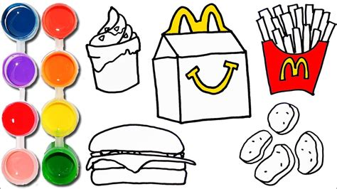 How To Draw & Color A Mcdonalds Happy Meal Set
