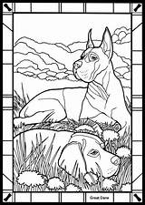 Coloring Dane Colouring Dog Dogs Danes Stained Glass Printable Dover German Animals Adults Sheets Publications Animal Bullmastiff Adult Commission Pointer sketch template