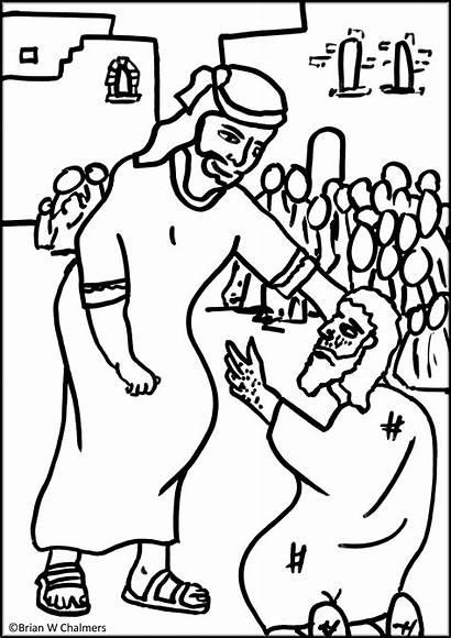 Coloring Jesus Heals Leper Sunday Pages Blind