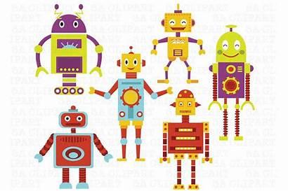 Clip Clipart Objects Robots Retro Clker Serif