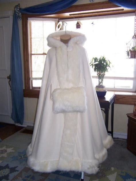 Custom Made Ivory Hooded With Faux Fur Trim Winter Warm