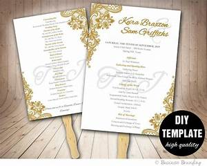 gold wedding program fan template diy instant download With wedding programs fans templates