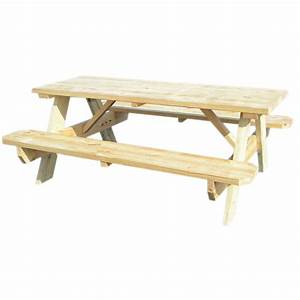 """Shop 72""""L Wood Rectangular Picnic Table with Benches at"""
