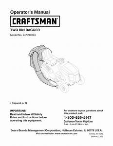 Craftsman 247240193 User Manual Two Bin Bagger Manuals And